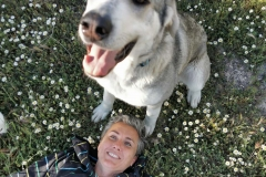 Lucky with her foster mum - dogs for adoption SOS Animals Spain